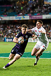 George Horne of Scotland in action during their Pool C match between England and Scotland as part of the HSBC Hong Kong Rugby Sevens 2018 on 06 April 2018, in Hong Kong, Hong Kong. Photo by Marcio Rodrigo Machado / Power Sport Images
