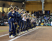 Michigan Wolverines Softball team introductions before a game against the University of South Florida Bulls on February 8, 2014 at the USF Softball Stadium in Tampa, Florida.  Michigan defeated USF 3-2.  (Copyright Mike Janes Photography)