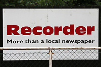 General view of the Romford Recorder signage during Hornchurch vs Dagenham & Redbridge, Friendly Match Football at Hornchurch Stadium on 24th July 2021