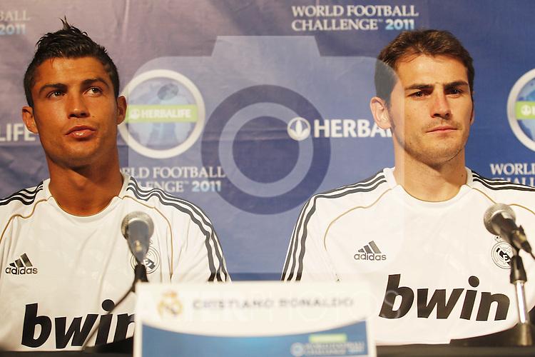 Real Madrid first train at pre season stage in Los ANgeles, California on July 12th 2011. Cristiano Ronaldo and Iker Casillas...Photo: Tresmu / ALFAQUI