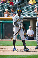 Orlando Calixte (2) of the Omaha Storm Chasers at bat against the Salt Lake Bees in Pacific Coast League action at Smith's Ballpark on August 16, 2015 in Salt Lake City, Utah. Omaha defeated Salt Lake 11-4. (Stephen Smith/Four Seam Images)