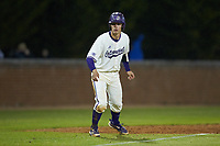 Daniel Walsh (19) of the Western Carolina Catamounts takes his lead off of third base against the St. John's Red Storm at Childress Field on March 13, 2021 in Cullowhee, North Carolina. (Brian Westerholt/Four Seam Images)
