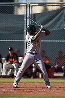 Oakland Athletics Jesus Lopez (3) during an instructional league game against the San Francisco Giants on October 12, 2015 at the Giants Baseball Complex in Scottsdale, Arizona.  (Mike Janes/Four Seam Images)