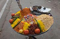 Jaipur, Rajasthan, India.  Snacks on Sale by a Streetside Vendor.