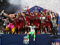 Liverpopol's captain Jordan Henderson holds up the trophy at the end of the UEFA Champions League final football match between Tottenham Hotspur and Liverpool at Madrid's Wanda Metropolitano Stadium, Spain, June 1, 2019. Liverpool won 2-0.<br /> UPDATE IMAGES PRESS/Isabella Bonotto