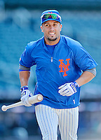 24 July 2012: New York Mets outfielder Andres Torres awaits his turn in the batting cage prior to a game against the Washington Nationals at Citi Field in Flushing, NY. The Nationals defeated the Mets 5-2 to take the second game of their 3-game series. Mandatory Credit: Ed Wolfstein Photo