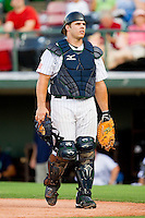 Catcher Josh Phegley #2 of the Charlotte Knights on defense against the Indianapolis Indians at Knights Stadium on July 26, 2011 in Fort Mill, South Carolina.  The Knights defeated the Indians 5-4.   (Brian Westerholt / Four Seam Images)