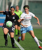 Washington Freedom  defender Ali Krieger (27) defends the play against Chicago Red Stars midfielder Megan Rapmore (8).  Washington Freedom tied with The Chicago Red Stars 0-0   at RFK Stadium, Saturday June 13, 2009.