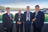 Pictured: Jonathan Shefford (R) of Peter Lynn. Thursday 27 September 2018<br /> Re: Swansea City AFC Business Networking event at the Liberty Stadium, Wales, UK.