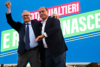 The candidate mayor of Rome for center-left coalition Roberto Gualtieri and president of Lazio Nicola Zingaretti during the closing of the electoral campaign to elect the new mayor of Rome, in San Basilio, a neighborhood in the outskirts of Rome.<br /> Rome (Italy), October 1st 2021<br /> Photo Samantha Zucchi / Insidefoto