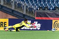 FOXBOROUGH, MA - SEPTEMBER 1: Yannik Oettl #70 of New England Revolution II  dives during a game between FC Tucson and New England Revolution II at Gillette Stadium on September 1, 2021 in Foxborough, Massachusetts.