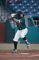 Kyle Wilkie (35) of the Greensboro Grasshoppers at bat against the Hickory Crawdads at First National Bank Field on May 6, 2021 in Greensboro, North Carolina. (Brian Westerholt/Four Seam Images)
