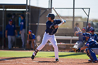San Diego Padres outfielder Mason House (58) at bat during an Instructional League game against the Texas Rangers on September 20, 2017 at Peoria Sports Complex in Peoria, Arizona. (Zachary Lucy/Four Seam Images)