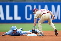 Brian Miller (5) of the North Carolina Tar Heels keeps his hand on second base as Taylor Walls (10) of the Florida State Seminoles applies the tag during the 2017 ACC Baseball Championship Game at Louisville Slugger Field on May 28, 2017 in Louisville, Kentucky.  The Seminoles defeated the Tar Heels 7-3.  (Brian Westerholt/Four Seam Images)