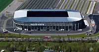 aerial photograph of the Impuls Arena soccer football stadium Augsburg, Bavaria, Germany |  Luftaufnahme des Impuls Arena Fussballstadions Augsburg, Bayern, Deutschland