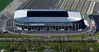 aerial photograph of the Impuls Arena soccer football stadium Augsburg, Bavaria, Germany |  Luftaufnahme des Impuls Arena Fussballstadions Augsburg, Bayern, Deutschland