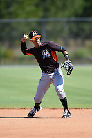 Miami Marlins Iramis Olivencia (1) before a minor league spring training game against the St. Louis Cardinals on March 31, 2015 at the Roger Dean Complex in Jupiter, Florida.  (Mike Janes/Four Seam Images)