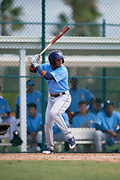 Tampa Bay Rays designated hitter Wander Franco (4) at bat during an Instructional League game against the Pittsburgh Pirates on October 3, 2017 at Pirate City in Bradenton, Florida.  (Mike Janes/Four Seam Images)