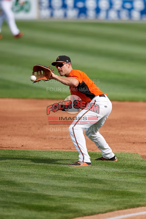 Frederick Keys first baseman Collin Woody (21) fields a ground ball during the first game of a doubleheader against the Lynchburg Hillcats on June 13, 2018 at Nymeo Field at Harry Grove Stadium in Frederick, Maryland.  Frederick defeated Lynchburg 3-0.  (Mike Janes/Four Seam Images)
