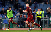 Calcio, Serie A: Lazio vs Roma. Roma, stadio Olimpico, <br /> Roma's Radja Nainggolan celebrates after scoring during the Italian Serie A football match between Lazio and Rome at Rome's Olympic stadium, 4 December 2016. Roma won 2-0.<br /> UPDATE IMAGES PRESS/Riccardo De Luca