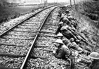 Troops ready to hold the railway line.  Merville, France.  Ypres Salient and area.  April 11, 1918.  British Official. (War Dept.)<br /> NARA FILE #:  165-BO-717<br /> WAR & CONFLICT BOOK #:  614