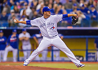 2 April 2016: The Toronto Blue Jays pitcher Scott Copeland on the mound during a pre-season exhibition game against the Boston Red Sox at Olympic Stadium in Montreal, Quebec, Canada. The Red Sox defeated the Blue Jays 7-4 in the second of two MLB weekend games, which saw a two-game series attendance of 106,102 at the former home on the Montreal Expos. Mandatory Credit: Ed Wolfstein Photo *** RAW (NEF) Image File Available ***