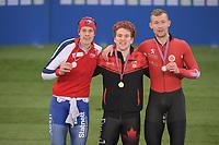 SPEED SKATING: HAMAR: Viking Skipet, 01-02-2019, ISU World Cup Speed Skating, Podium 5000m Men Division B, Sindre Henriksen (NOR), Graeme Fish (CAN), Viktor Hald Thorup (DEN), ©photo Martin de Jong