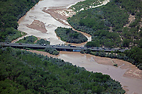 aerial photograph of US Route 66 crossing the Rio Grande river at Albuquerque, New Mexico