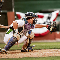 20 June 2021: Vermont Lake Monsters catcher Tyler Favretto, from Mount Royal, Quebec, in action against the Westfield Starfires at Centennial Field in Burlington, Vermont. The Starfires defeated the Vermont Lake Monsters 10-2 at Centennial Field, in Burlington, Vermont. Mandatory Credit: Ed Wolfstein Photo *** RAW (NEF) Image File Available ***