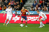 Spain's Andres Iniesta (c) and Finland's Ring (l) and Moisander during international match of the qualifiers for the FIFA World Cup Brazil 2014.March 22,2013.(ALTERPHOTOS/Victor Blanco)