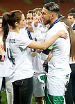 Real Madrid's Sergio Ramos celebrates with his wife, the Spanish actress Pilar Rubio and his son the victory in the UEFA Champions League 2015/2016 Final match.May 28,2016. (ALTERPHOTOS/Acero)