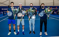 Amstelveen, Netherlands, 20  December, 2020, National Tennis Center, NTC, NK Indoor, National  Indoor Tennis Championships, Men's  Doubles Final   :  Winners  Sander Arends (L) (NED) and Matwe Middelkoop (NED) and runners    <br /> up Botic van de Zandschulp  (NED) and Tallon Griekspoor  (NED)<br /> <br /> Photo: Henk Koster/tennisimages.com