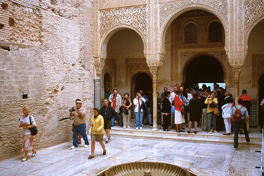 Tourists in the Alhambra. Granada Andalucia Spain.