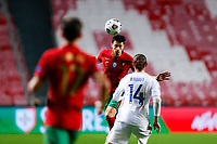 14th November 2020, The Estádio da Luz, Lisbon, Portugal; Nations League International football, Portugal versus France; José Fonte of Portugal heads the ball clear of Rabiot of France