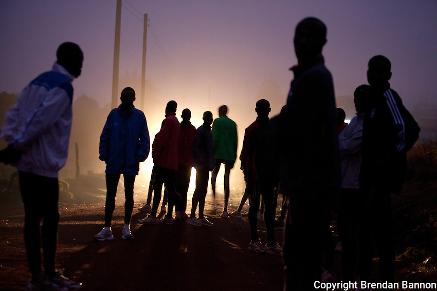 Runners gather for a morning run in Iten, Kenya. The high altitude training grounds for Kenya's elite and amatuer runners is perched on the edge of the Rift valley escarpment at 7,800 ft altitude. Some of the world's fastest marathon runners live and train in Iten and the  neighboring city of Eldoret.