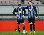 13.01.2021, xtgx, Fussball 3. Liga, VfB Luebeck - SV Waldhof Mannheim emspor, v.l. Arianit Ferati (Mannheim, 10) wird vor dem Freistoss von Marcel Hofrath (Mannheim, 31) ermutigt<br /> <br /> (DFL/DFB REGULATIONS PROHIBIT ANY USE OF PHOTOGRAPHS as IMAGE SEQUENCES and/or QUASI-VIDEO)<br /> <br /> Foto © PIX-Sportfotos *** Foto ist honorarpflichtig! *** Auf Anfrage in hoeherer Qualitaet/Aufloesung. Belegexemplar erbeten. Veroeffentlichung ausschliesslich fuer journalistisch-publizistische Zwecke. For editorial use only.