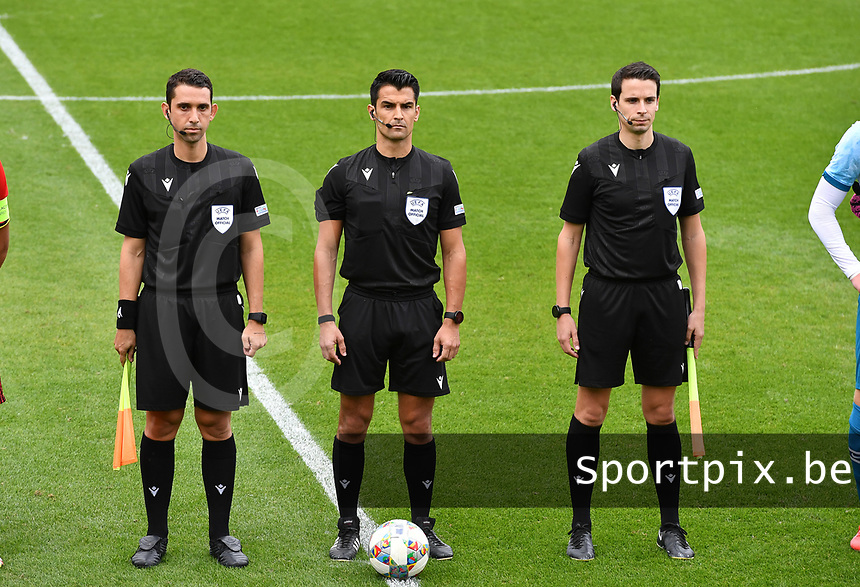 referees pictured with Cypriotic Kyriacos Sokratous , Portugese Vitor Jorge Fernandes Ferreira and Portugese Goncalo Nuno Soares Vaz Freire during a soccer game between the national teams Under17 Youth teams of  Norway and Belgium on day 3 in the Qualifying round in group 3 on Tuesday 12 th of October 2020  in Tubize , Belgium . PHOTO SPORTPIX   DAVID CATRY
