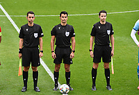 referees pictured with Cypriotic Kyriacos Sokratous , Portugese Vitor Jorge Fernandes Ferreira and Portugese Goncalo Nuno Soares Vaz Freire during a soccer game between the national teams Under17 Youth teams of  Norway and Belgium on day 3 in the Qualifying round in group 3 on Tuesday 12 th of October 2020  in Tubize , Belgium . PHOTO SPORTPIX | DAVID CATRY