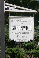 A sign welcomes visitors to Greenwich, Connecticut.  The town was established in 1640.