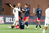 FOXBOROUGH, MA - OCTOBER 09: Eduardo Sosa #10 of Fort Lauderdale CF and Tiago Mendonca #33 of New England Revolution II in a heated exchange near the New England goal during a game between Fort Lauderdale CF and New England Revolution II at Gillette Stadium on October 09, 2020 in Foxborough, Massachusetts.