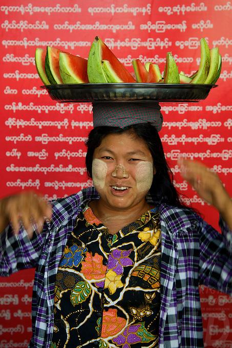 Water Melon Vendor at Mandalay Railway Station, Myanmar/Burma