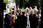 LEXINGTON, KY - OCTOBER 08: People waiting outside the gates at Keeneland during a power outage at 10:20am, which caused a delay for the afternoon race card on Fall Stars Saturday.  People inside the track could only wait, and people outside were not permitted in until electric came back on right at 12:00pm.  October 8, 2016, Lexington, Kentucky. (Photo by Candice Chavez/Eclipse Sportswire/Getty Images)