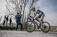 Kennet Van Rooy (BEL/Sport Vlaanderen Baloise) over the 'plugstreet Christmas Truce' gravel section. <br /> <br /> 81st Gent-Wevelgem in Flanders Fields (1.UWT)<br /> Deinze > Wevelgem (251km)