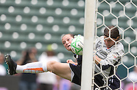 Sky Blue FC's goalie Jenni Branam grabs the ball in front of LA Sol's Brittany Bock during a  Sky Blue FC 1-0 victory over the LA Sol to win the WPS Championship match at the Home Depot Center, Saturday, August 22, 2009.