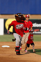 High Desert Mavericks mascot Wooly Bully races a young boy around the bases between innings of a game between the High Desert Mavericks and the Modesto Nuts at Stater Bros. Stadium on June 29, 2013 in Adelanto, California. Modesto defeated High Desert, 7-2. (Larry Goren/Four Seam Images)