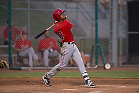 AZL Angels shortstop Jeremiah Jackson (8) follows through on his swing during an Arizona League game against the AZL Giants Black at the San Francisco Giants Baseball Complex on July 1, 2018 in Scottsdale, Arizona. AZL Giants Black defeated the AZL Angels 4-2. (Zachary Lucy/Four Seam Images)
