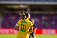 ORLANDO CITY, FL - FEBRUARY 21: Marta #10 of Brazil runs toward the midfield during a game between Brazil and USWNT at Exploria Stadium on February 21, 2021 in Orlando City, Florida.