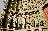 Amiens Cathedral: Sculpture Details of the Saint Firmin Portal. Amiens, France. Gothic style