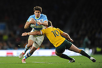 Lucas Gonzalez Amorosino of Argentina is tackled by Bernard Foley of Australia during the Semi Final of the Rugby World Cup 2015 between Argentina and Australia - 25/10/2015 - Twickenham Stadium, London<br /> Mandatory Credit: Rob Munro/Stewart Communications