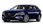 Stock pictures of low aggressive front three quarter view of 2019 Mazda Mazda6 Skycrusie 5 Door Wagon Low Aggressive